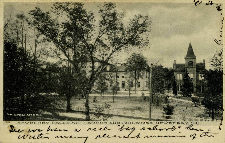 Newberry College postcard from 1856 tiny PNG